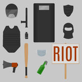 Riot objects Royalty Free Stock Photos