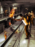 Riot in the penitentiary. Interior of a penitentiary, where several prisoners are promoting a riot, burning and breaking the furniture Royalty Free Stock Images