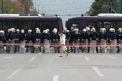 Riot police. Greek riot police patrolling in front of the parliament house in Athens Stock Images