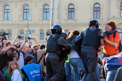 Riot Police Arrest Protesters in Moscow Stock Photos