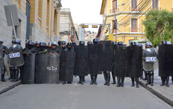 Riot Police in Bolivia Stock Images