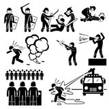 Riot Police Cliparts. A set of human pictogram representing the ways of riot police controlling rioters. It includes beating, arrest, tear gas, and water cannon