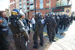 Riot police cordon Royalty Free Stock Photography