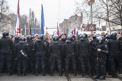 Riot police. Croatian riot police stopping right wing demonstrations in Zagreb city Royalty Free Stock Photography