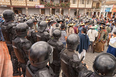 Riot police on duty at the Int. June 24, 2017 Cotacachi, Ecuador: riot police on duty at the Inti Raymi parade at summer solstice Stock Photo