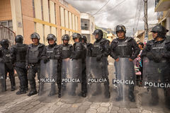 Riot police on duty. June 24, 2017 Cotacachi, Ecuador: riot police on duty at the Inti Raymi parade at summer solstice Stock Photo