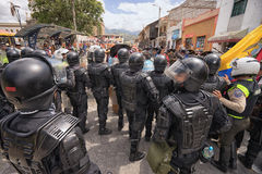 Riot police on duty. June 24, 2017 Cotacachi, Ecuador: riot police on duty at the Inti Raymi parade at summer solstice Royalty Free Stock Images
