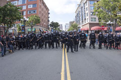 Riot police on Fifth Avenue in San Diego Stock Image