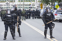 Riot police on guard Stock Photography