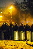 The riot police at Hrushevskogo street in Kiev, Ukraine Royalty Free Stock Image