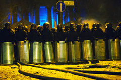 The riot police at Hrushevskogo street in Kiev, Ukraine Stock Image