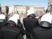 Riot Police At Love parade. Riot Polish Police At small Love parade Royalty Free Stock Photo