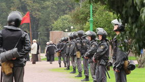 Riot Police before the Meeting in Russia stock footage