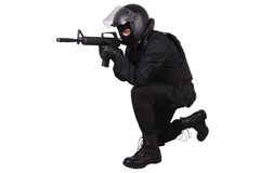 Riot police officer in black uniform Royalty Free Stock Images