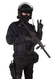 Riot police officer in black uniform Royalty Free Stock Photo