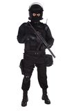 Riot police officer in black uniform. Isolated on white stock photos