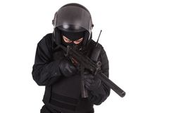 Riot police officer in black uniform Royalty Free Stock Image