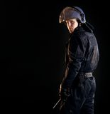 Riot Police Officer in the Dark Royalty Free Stock Photos