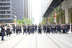Riot police officers blocking the downtown streets Royalty Free Stock Images