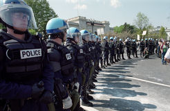 Riot Police at Protest Stock Photo