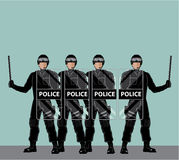 Riot Police with shields Stock Photo