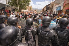 Riot police steps in at the Inti Raymi parade Royalty Free Stock Image