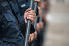 Riot police. Police Training in the use of batons to control crowds Royalty Free Stock Photo