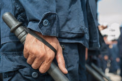 Riot police. Police Training in the use of batons to control crowds Royalty Free Stock Photos