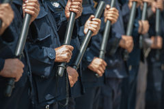 Riot police. Police Training in the use of batons to control crowds Stock Photo