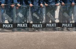 Riot police. Police Training in the use of batons to control crowds Stock Photos