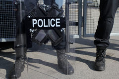Riot Police. Unit waiting for orders Stock Photo