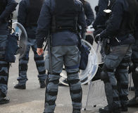 Riot police during the uprising town. Many riot police during the uprising town Royalty Free Stock Photography