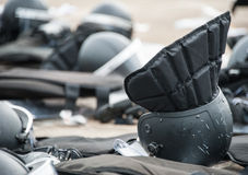 Riot police. Wear protective equipment and riot police suppressed Stock Photo