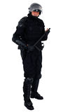 Riot policeman. With full equipment isolated on white stock photo