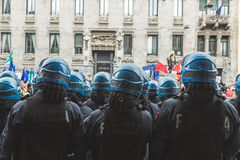 Riot policemen during the Liberation Day parade Royalty Free Stock Photography