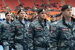 Riot policemen at the stadium Luzhniki Stock Photography