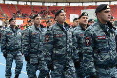 Riot policemen at the stadium Luzhniki Royalty Free Stock Photos