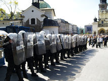 Riot Polish Police. At the love parade in Cracow Royalty Free Stock Image