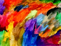 Riot of rainbow watercolor texture. Riot of rainbow colors. Children`s watercolor drawing. Abstraction, holiday of colors and colors, background, hand drawn Stock Image
