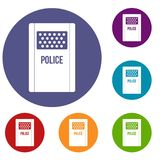Riot shield icons set. In flat circle red, blue and green color for web stock illustration