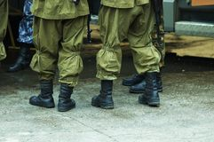 Riot squad. Soldiers in war time Stock Photography