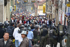 Rioting in La Paz Stock Photo