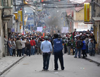 Rioting in La Paz, Bolivia. Riots in La Paz, Bolivia due to an increase in gas prices Royalty Free Stock Photos