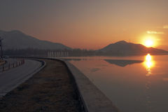 Riotous. Sunset over Dal Lake, India royalty free stock images