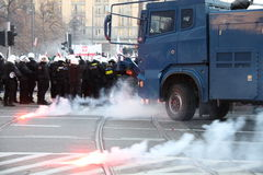 Riots. WARSAW, POLAND - NOVEMBER 11: The riots in the streets of Warsaw during the celebration of Independence Day on November 11, 2011 in Warsaw, Poland Stock Photos