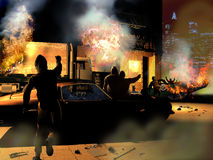 Riots. Violent riots, close to a big city, of people burning shops and vehicles at night Stock Photo
