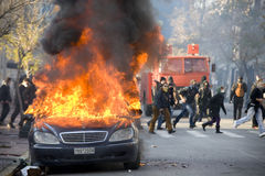 Riots in athens 18_12_08. A car in flames near panepistimiou street