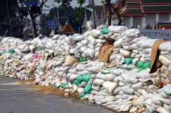 Riots in Bangkok in 2014. BANGKOK, THAILAND, MARCH 13, 2014: View   on barricades made from sacks. Riots in Bangkok in 2014, Thailand Stock Images
