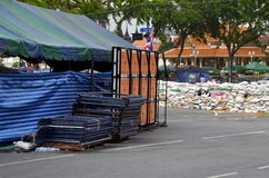 Riots in Bangkok in 2014. BANGKOK, THAILAND, MARCH 13, 2014: View   on barricades made from sacks. Riots in Bangkok in 2014, Thailand Royalty Free Stock Photos