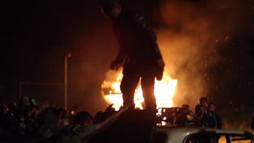 The Riots In The City, Fire. People Break The Car